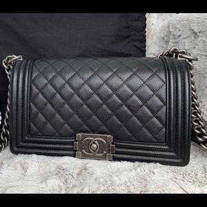 Chanel Old Medium Black Caviar Boy Bag